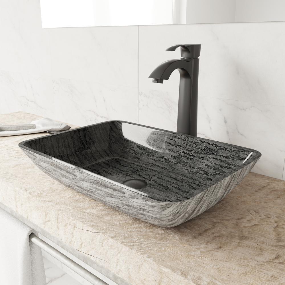 Vigo Rectangular Titanium Glass Vessel Bathroom Sink Set