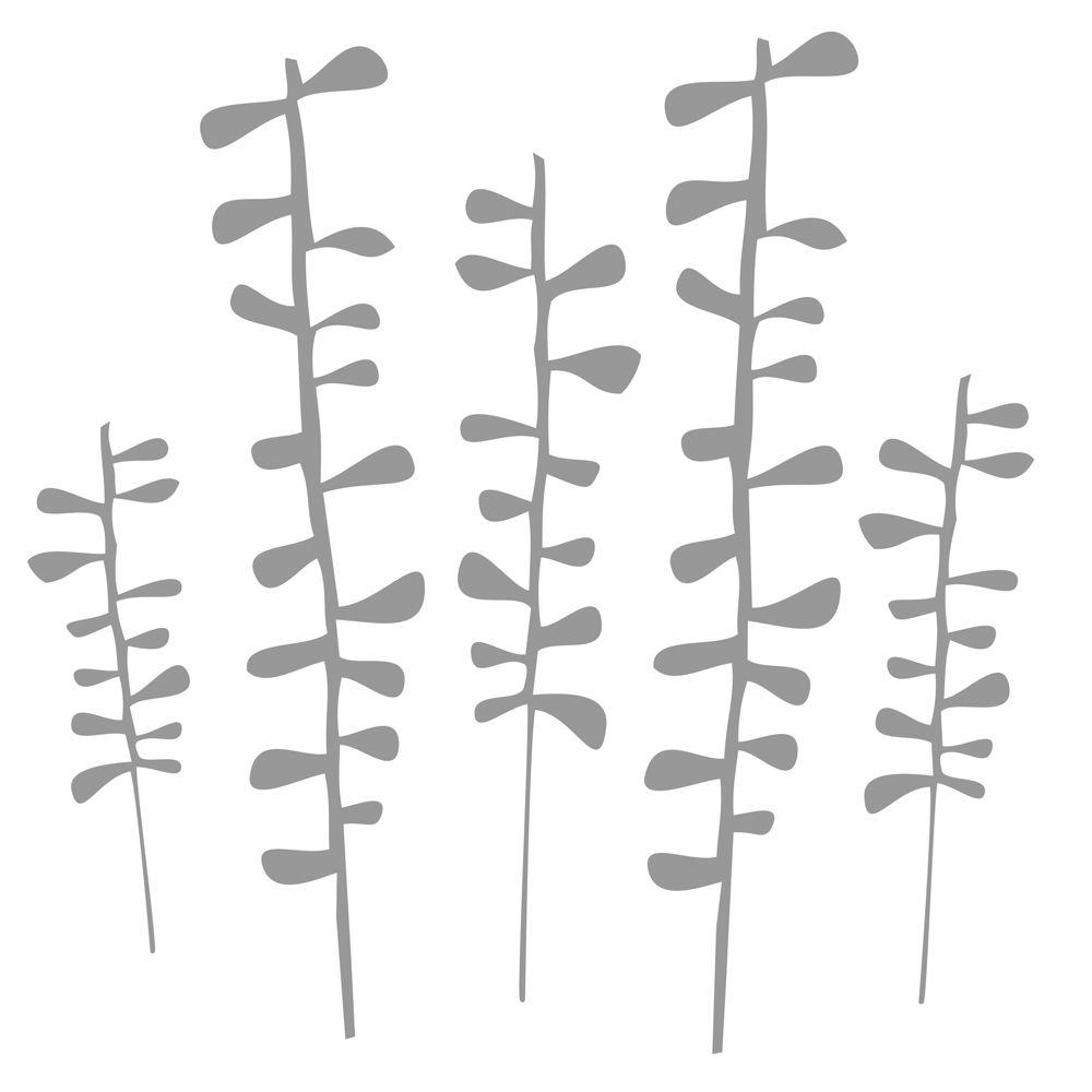 Stics Deco 13 in. x 39 in. Eucalyp - Light Grey 2-Sheet Peel and Stick Wall Decal-DISCONTINUED