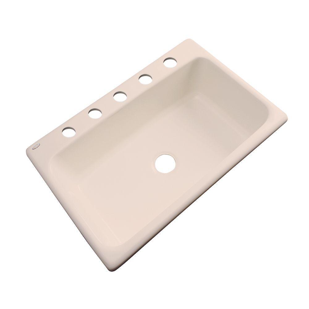 Manhattan Drop-In Acrylic 33 in. 5-Hole Single Bowl Kitchen Sink in Peach Bisque