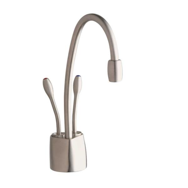 Insinkerator Indulge Contemporary 2 Handle Instant Hot And Cold Water Dispenser Faucet In Satin Nickel F Hc1100sn The Home Depot