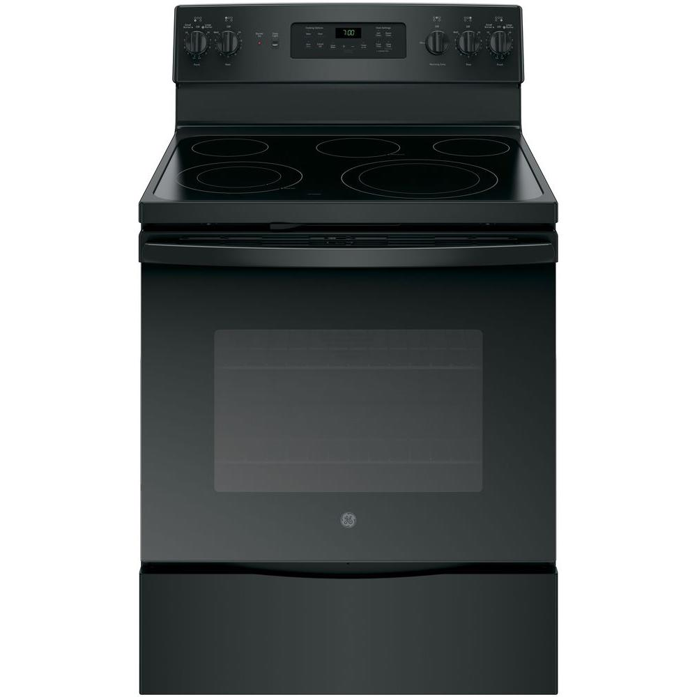 Ge 5 3 Cu Ft Electric Range With Self Cleaning Convection Oven In Black