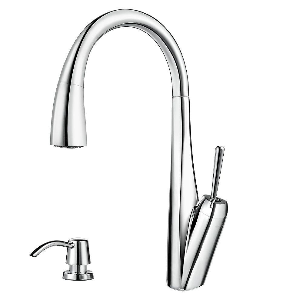 Pfister Zuri Single-Handle Pull-Down Sprayer Kitchen Faucet with Soap Dispenser in Polished Chrome