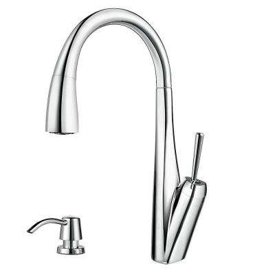 Zuri Single-Handle Pull-Down Sprayer Kitchen Faucet with Soap Dispenser in Polished Chrome