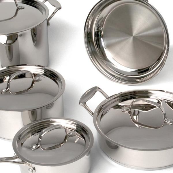 BergHOFF Cookware Set Minimalist Copper Core Stainless Steel Silver 10-Piece
