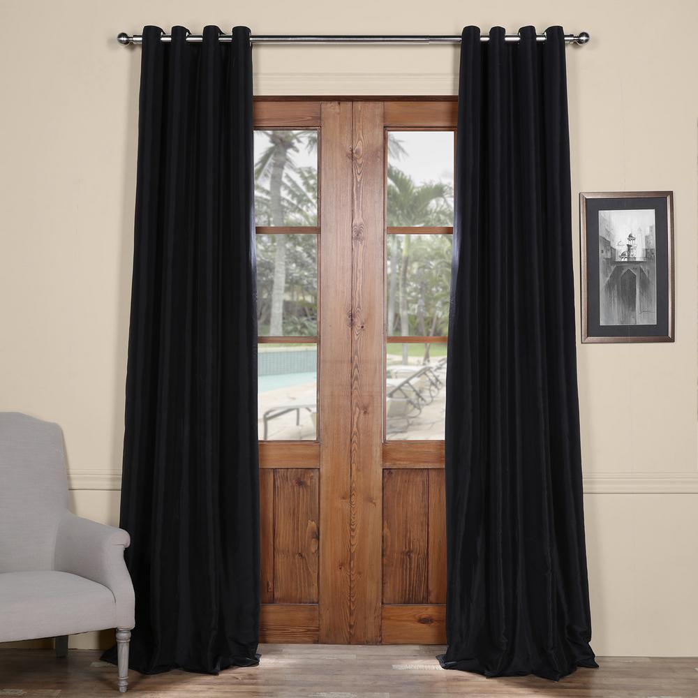 Black Grommet Blackout Faux Silk Taffeta Curtain - 50 in. W x 120 in. L