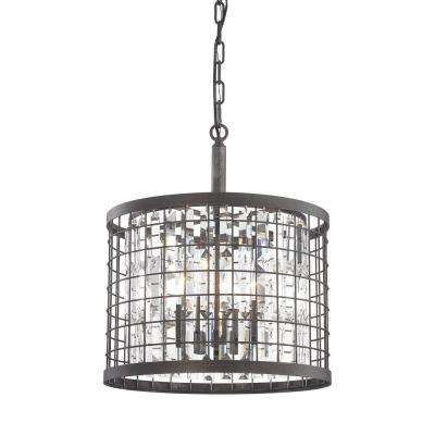 Nadina 4-Light Silverdust Iron Short Round Chandelier With Metal And Crystal Shade