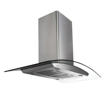 Tornado Island II 36 in. Convertible Island Mount Range Hood with Light in Stainless Steel