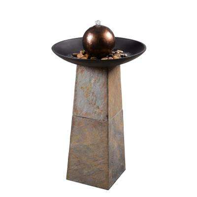 Orb Resin and Slate Floor Fountain