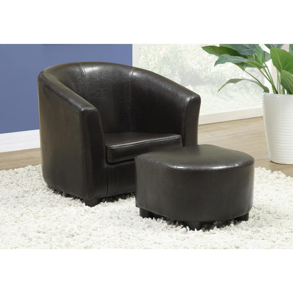 Monarch Specialties Dark Brown Kids Chair With Ottoman