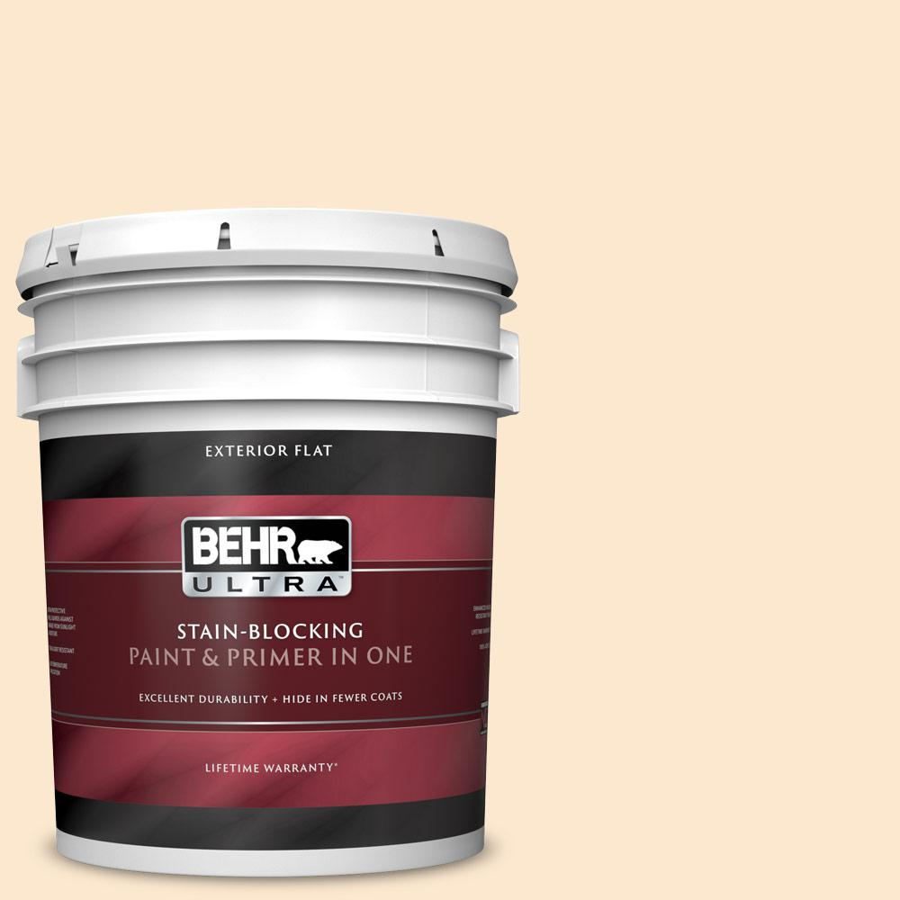 Behr Ultra 5 Gal M230 2 Fair Ivory Flat Exterior Paint And Primer In One 485005 The Home Depot