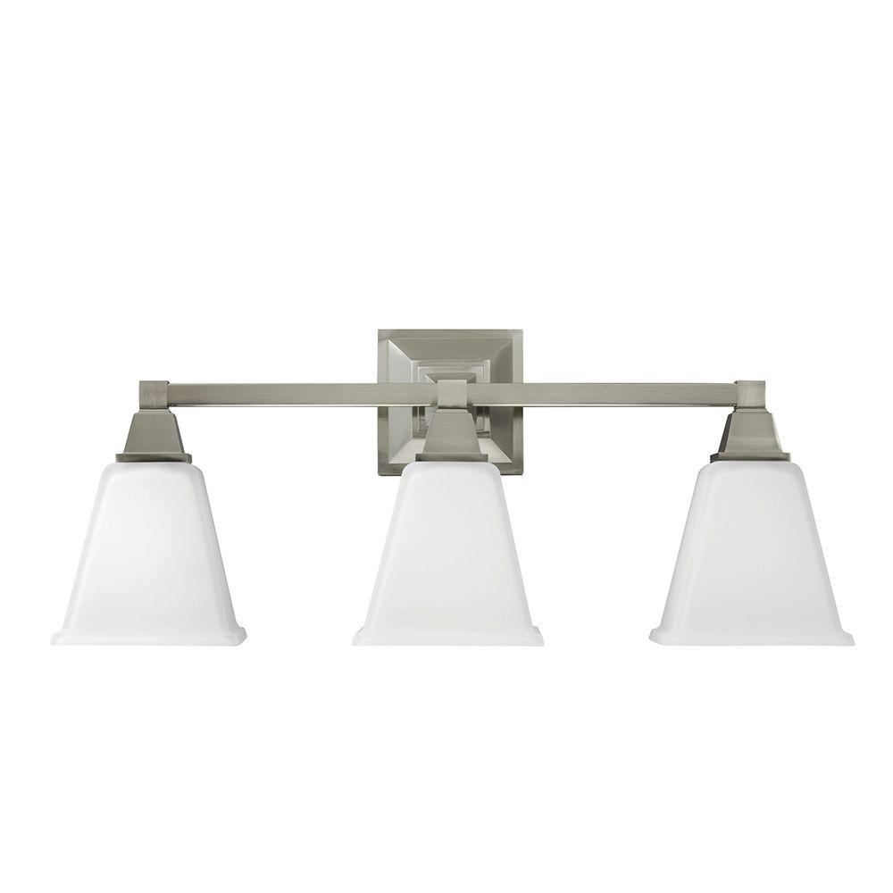 Sea gull lighting denhelm 3 light brushed nickel wall bath for Brushed nickel lighting for bathroom