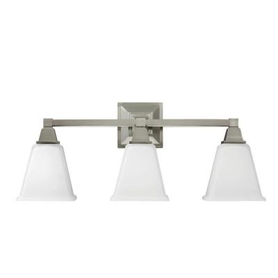 Denhelm 24.25 in. W. 3-Light Brushed Nickel Wall/Bath Vanity Light with Inside White Painted Etched Glass