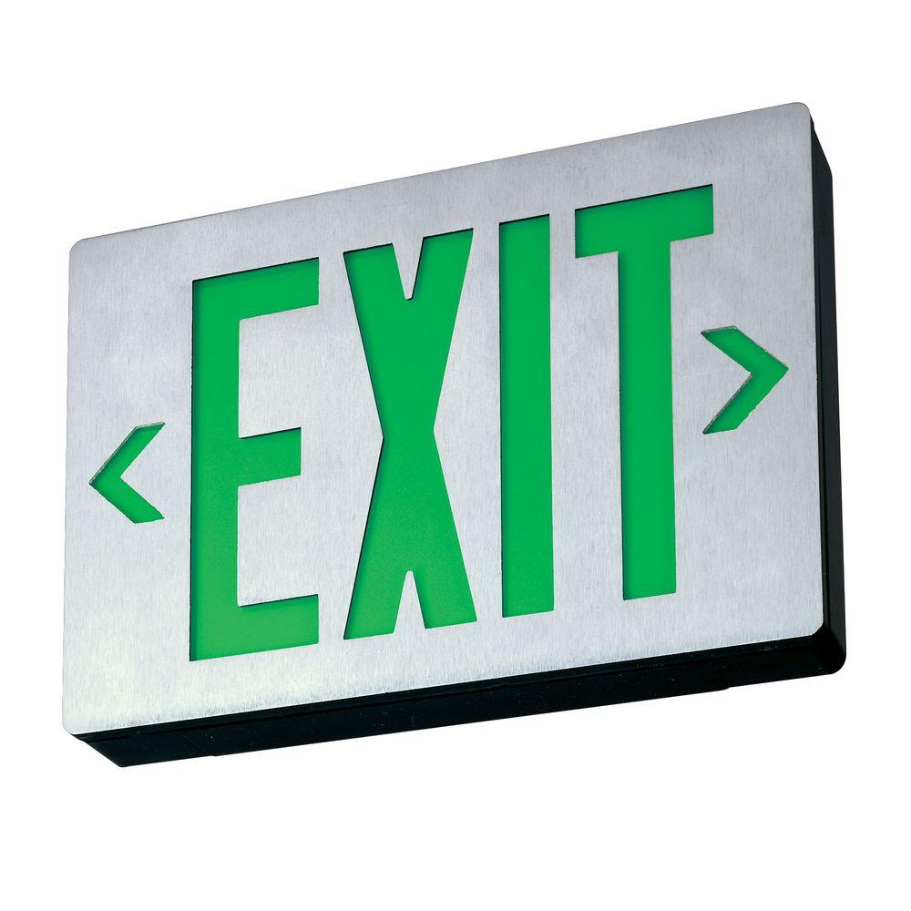 Lithonia Lighting Signature Cast Aluminum Led Green Single Face Exit Sign