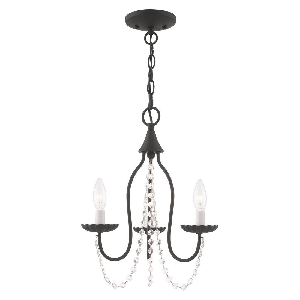 Livex Lighting Alessia 3 Light Black Mini Chandelier With Clear Crystal Accents