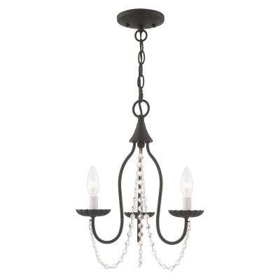 Alessia 3-Light Black Mini Chandelier with Clear Crystal Accents