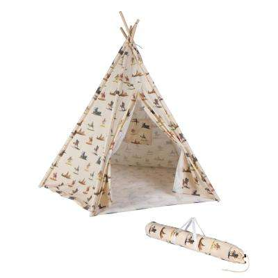 6 ft. Canvas and Pine Wood Teepee with Carry Case in Canvas Fabric and Cowboy Print