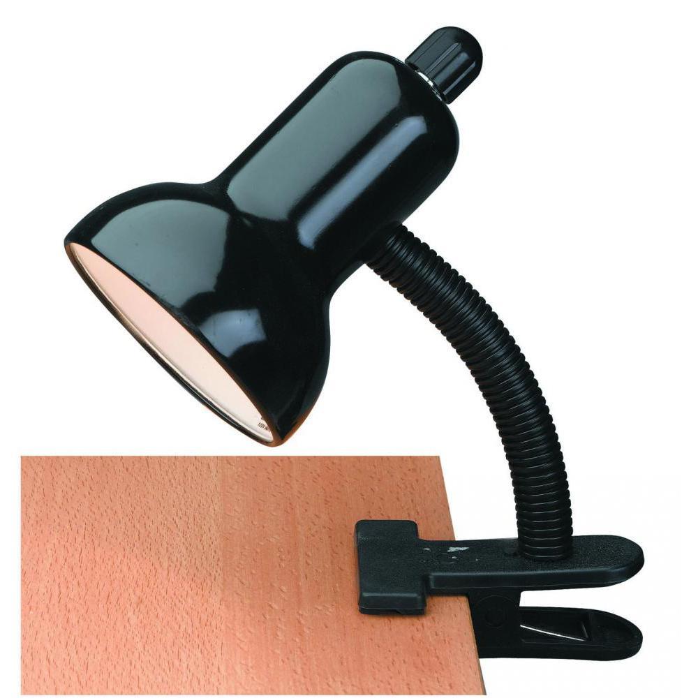 7.75 in. Black Gooseneck Clip-On Desk Lamp