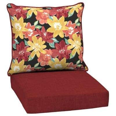 Ruby Abella Floral 2-Piece Deep Seating Outdoor Lounge Chair Cushion