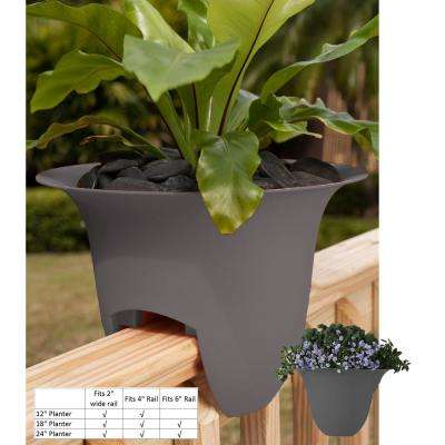 18 x 11 Peppercorn Modica Plastic Deck Rail Planter