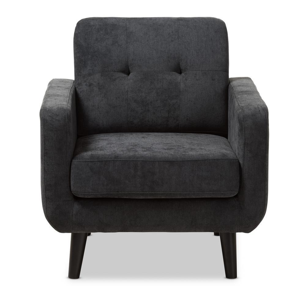 Baxton Studio Carina Dark Gray Fabric Upholstered Lounge Chair