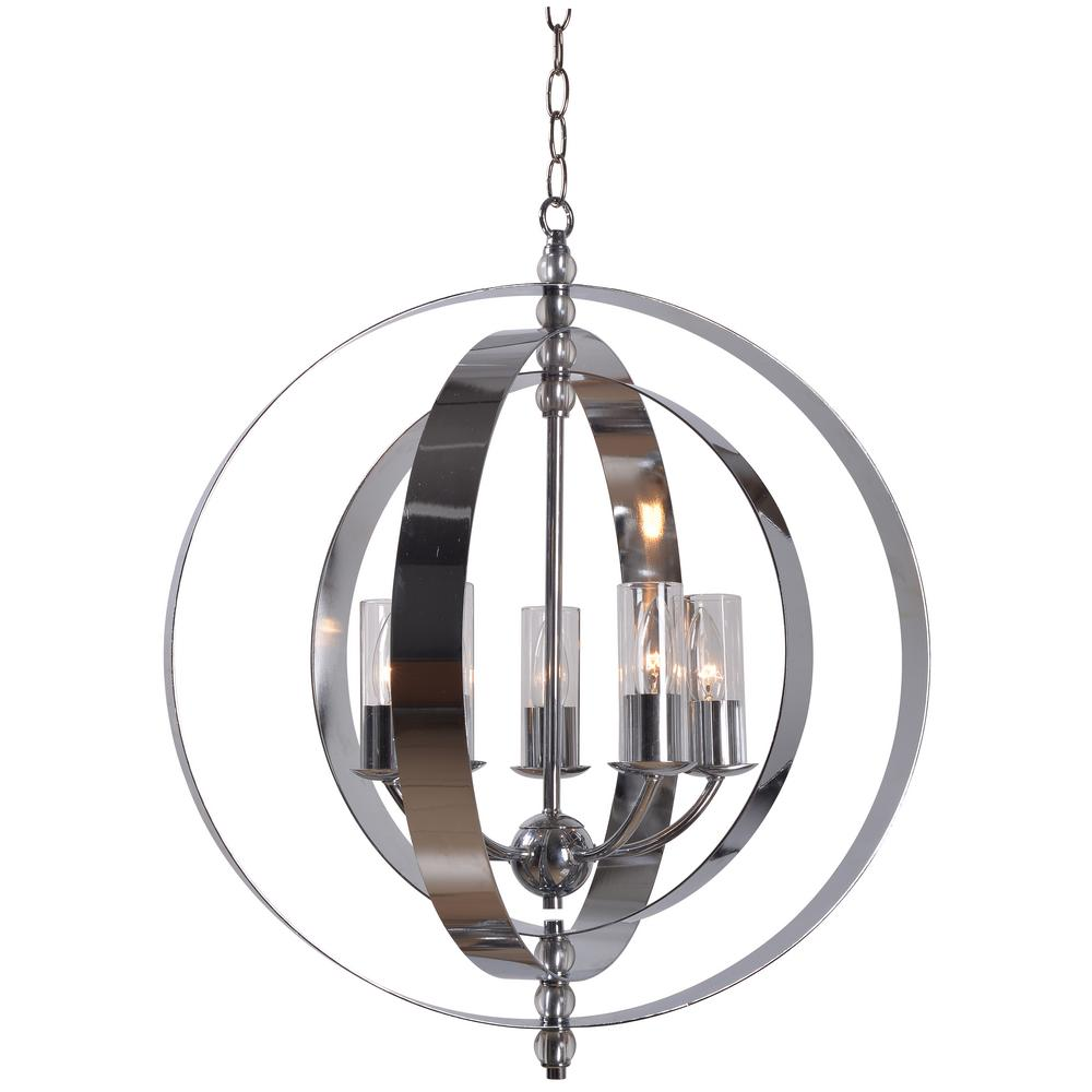 Globe stainless steel chandeliers lighting the home depot jaquelyn 5 light chrome chandelier with clear shade aloadofball Images