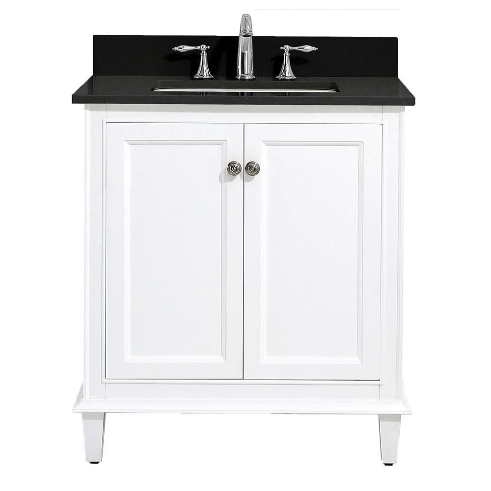 Riverpine 31 in. W x 22 in. D Vanity in White with Granite Vanity Top in Black with White Sink
