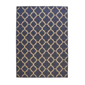 Trellis Reversible/Cape Cod Blue 5 ft. x 7 ft. Indoor/Outdoor Area Rug