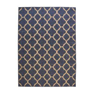 Trellis Reversible/Cape Cod Blue 5 ft. 3 in. x 7 ft. 5 in. Indoor/Outdoor Area Rug