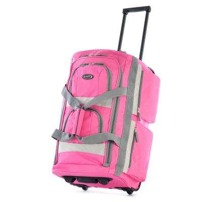 26 in. Hot Pink 8-Pocket Rolling Duffel