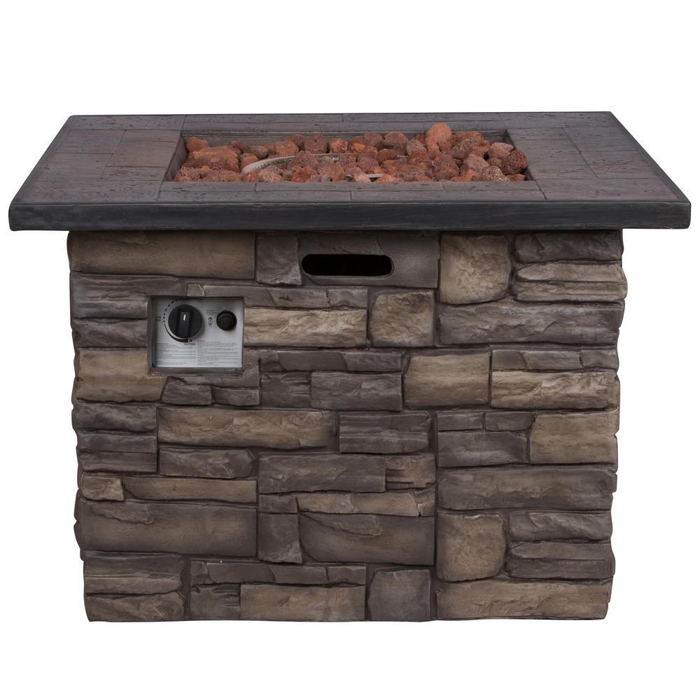 Shine Company Sevilla 34.5 in. Dia Square Magnesium Propane Gas Stone Outdoor Fire Pit Table with Lava Rock