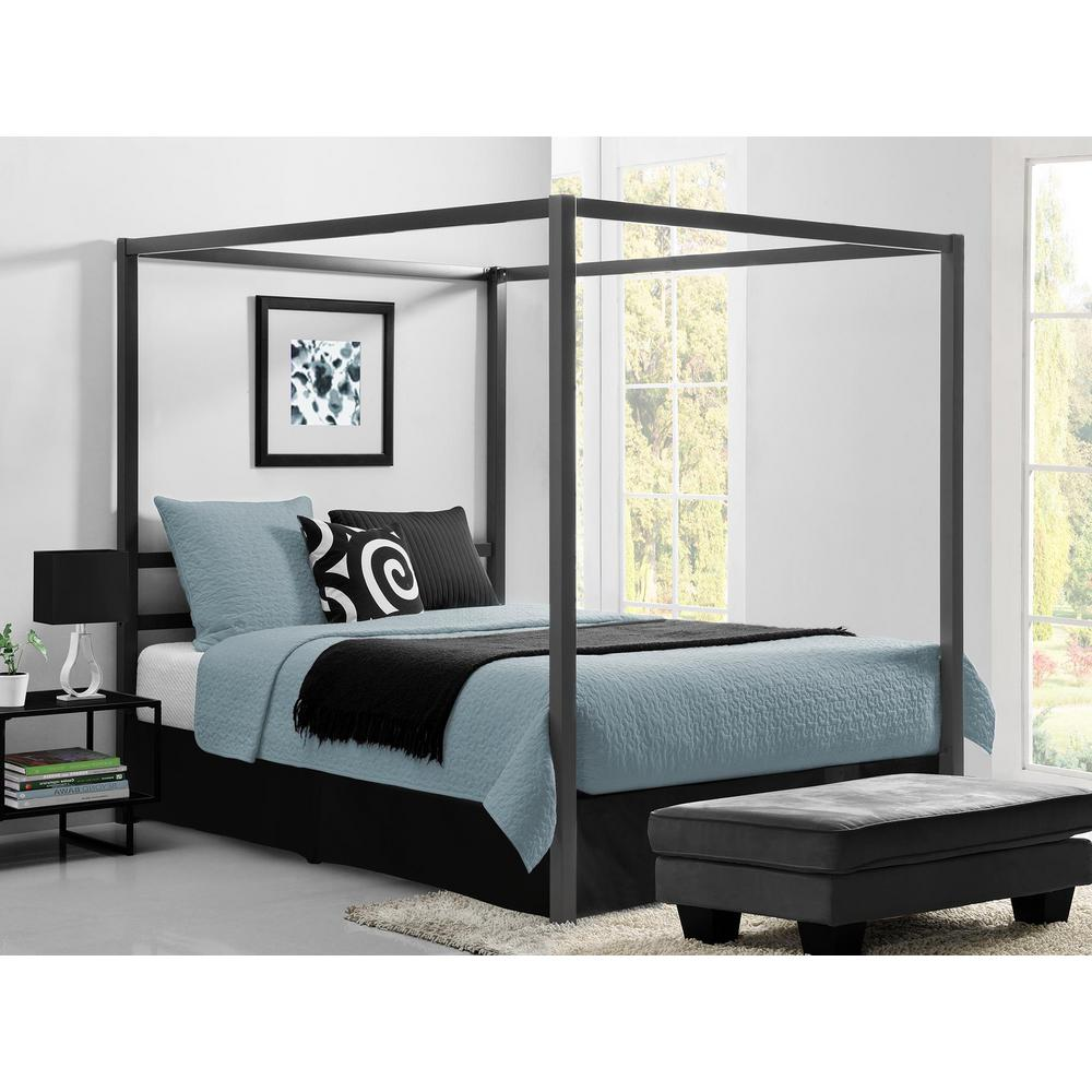 Queen Size Bed: DHP Rory Metal Canopy Grey Queen Size Bed Frame-DE23556