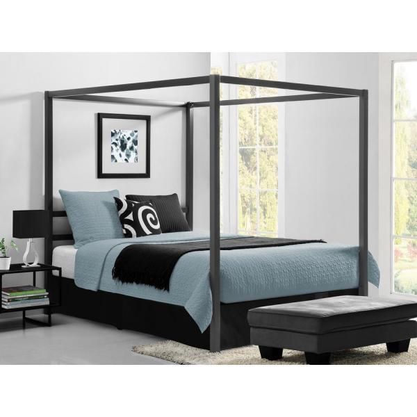0f2c97141a10 DHP Rory Metal Canopy Grey Queen Size Bed Frame DE23556 - The Home Depot