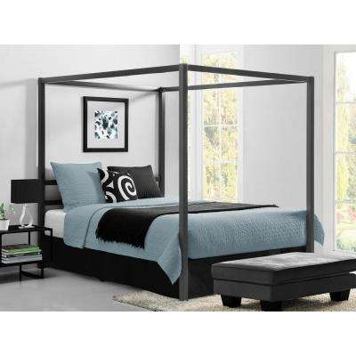 Modern Canopy Metal Queen Size Bed Frame in Gunmetal Grey