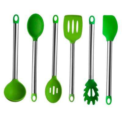6-Pieces Stainless Steel Handle Silicone Utensil Set in Green