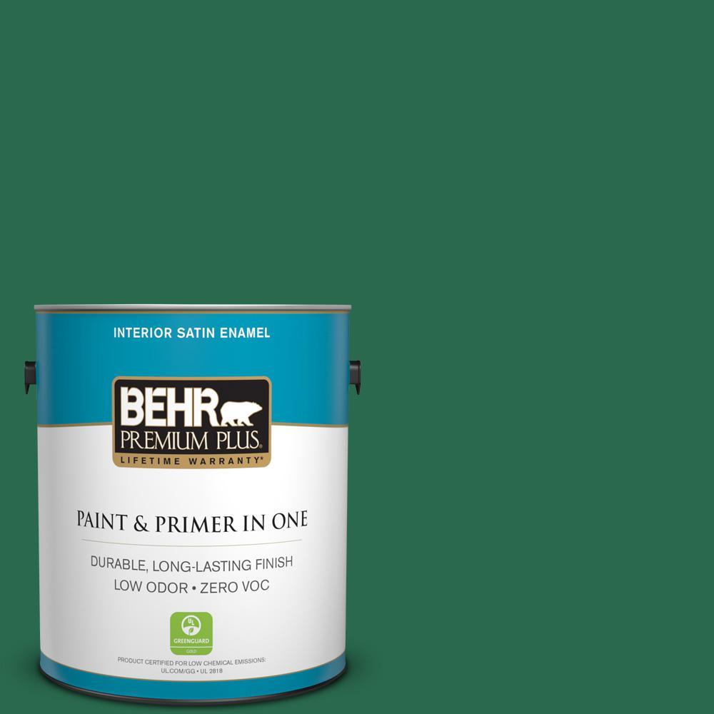 BEHR Premium Plus 1-gal. #S-H-460 Chopped Chive Zero VOC Satin Enamel Interior Paint