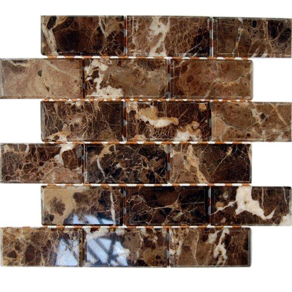 Splashback Tile Rich Dark Emperador Chamfered 12 in. x 12 in. x 8 mm Marble Mosaic Floor and Wall Tile