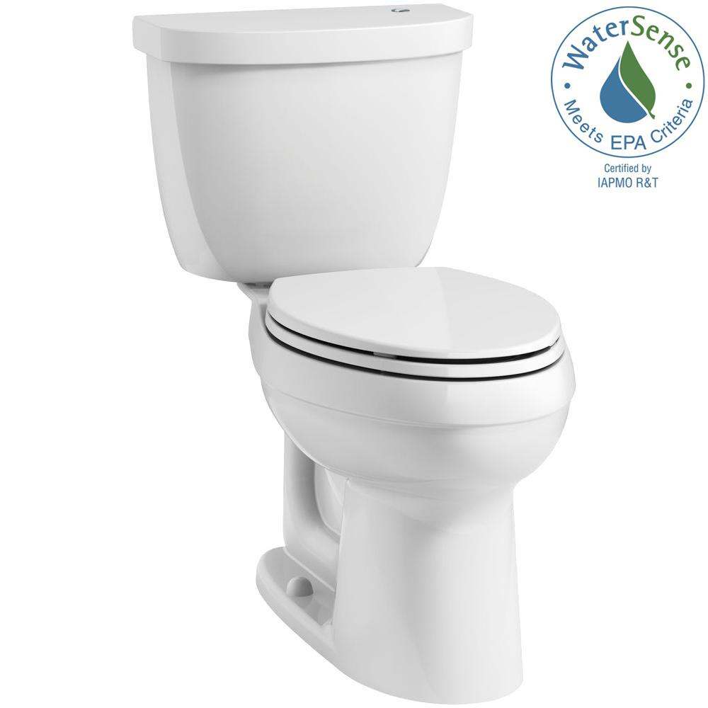 KOHLER Cimarron Touchless Comfort Height Complete Solution 2-Piece 1.28 GPF  Elongated Toilet with AquaPiston