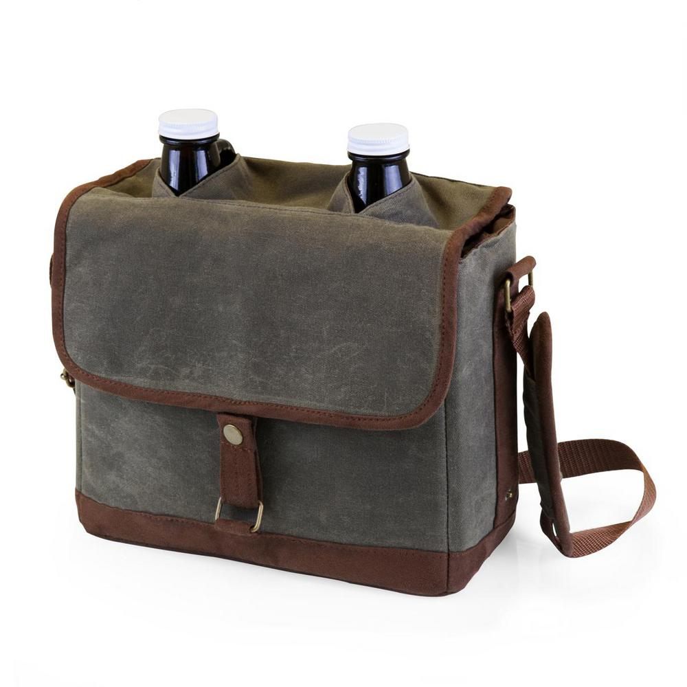 64 oz. Waxed Canvas Insulated Double Growler Tote with Glass Growlers