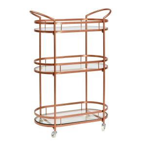 26¾ in. x 12½ in. x 37⅜ in. ''Westwood'' Antique Copper Bar/Serving Cart