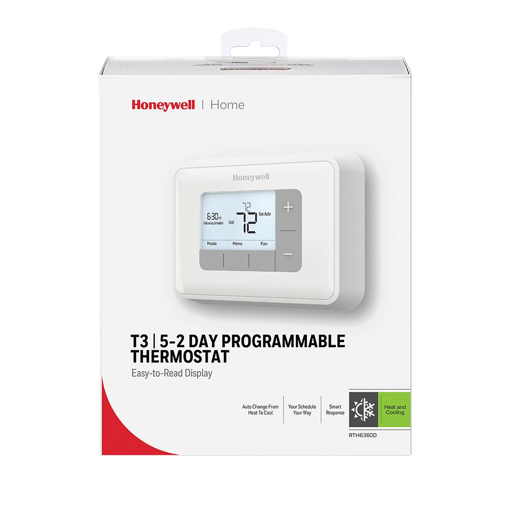 Honeywell Home T3 5 2 Day Programmable Thermostat With 2h 2c Multistage Heating And Cooling Rth6360 The Home Depot