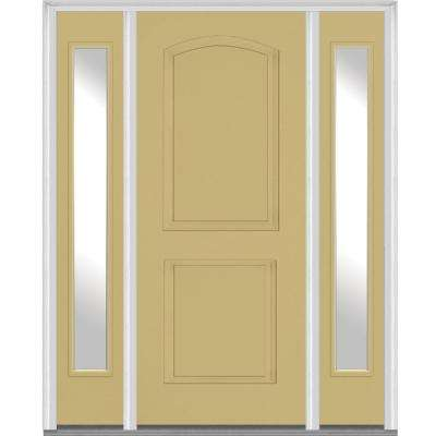 64 in. x 80 in. Right Hand Inswing 2-Panel Arch Painted Fiberglass Smooth Prehung Front Door with Sidelites