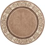 Total Performance Mocha/Ivory 6 ft. x 6 ft. Round Area Rug