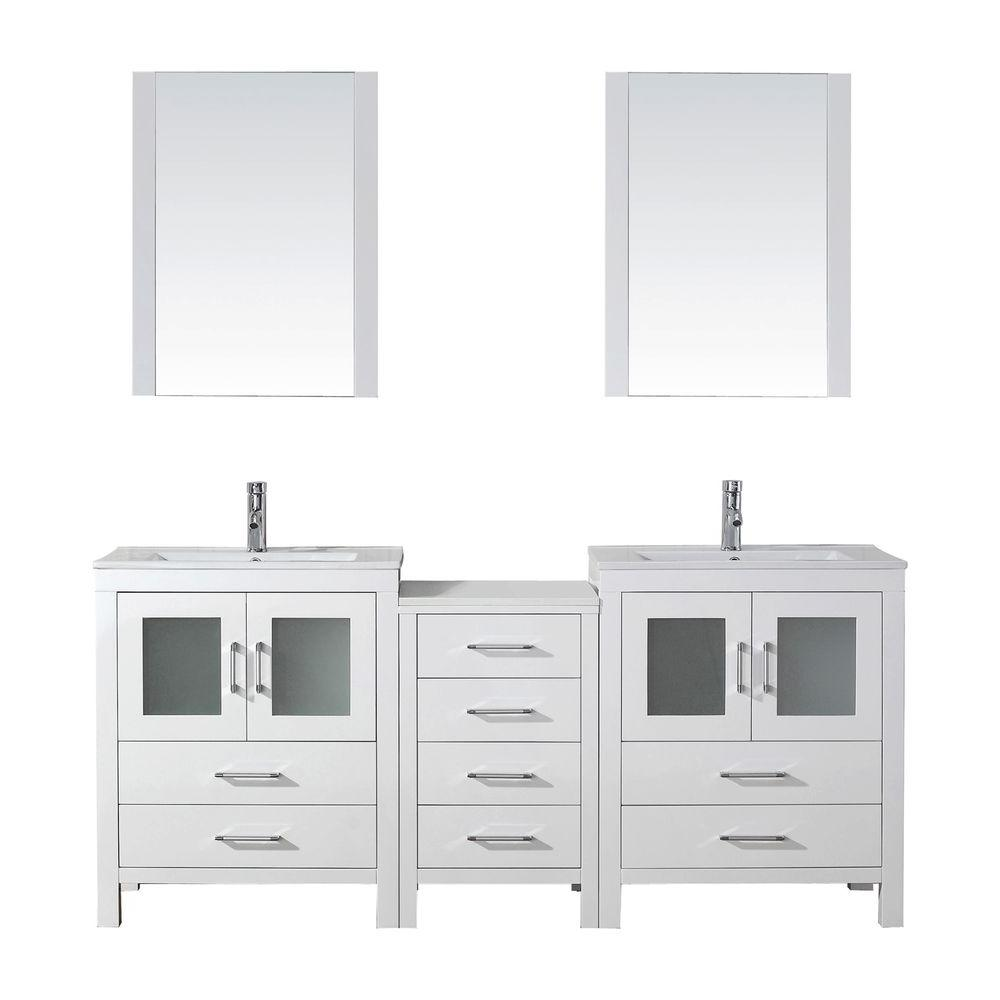 Virtu USA Dior 74 in. W Bath Vanity in White with Ceramic Vanity Top in Slim White Ceramic with Square Basin and Mirror and Faucet