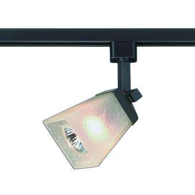1-Light Matte Black Linen Glass Linear Track Lighting Head