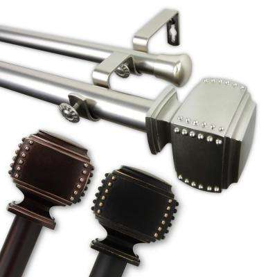 Studded 1 in. Double Curtain Rod 66 in. - 120 in. in Bronze