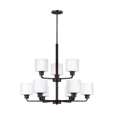 Canfield 9-Light Burnt Sienna Chandelier with LED Bulbs