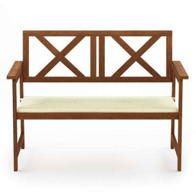 Tioman X Back Hardwood Outdoor Bench with Beige Cushion