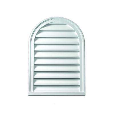 28 in. x 43 in. x 2 in. Polyurethane Functional Cathedral Louver Gable Vent