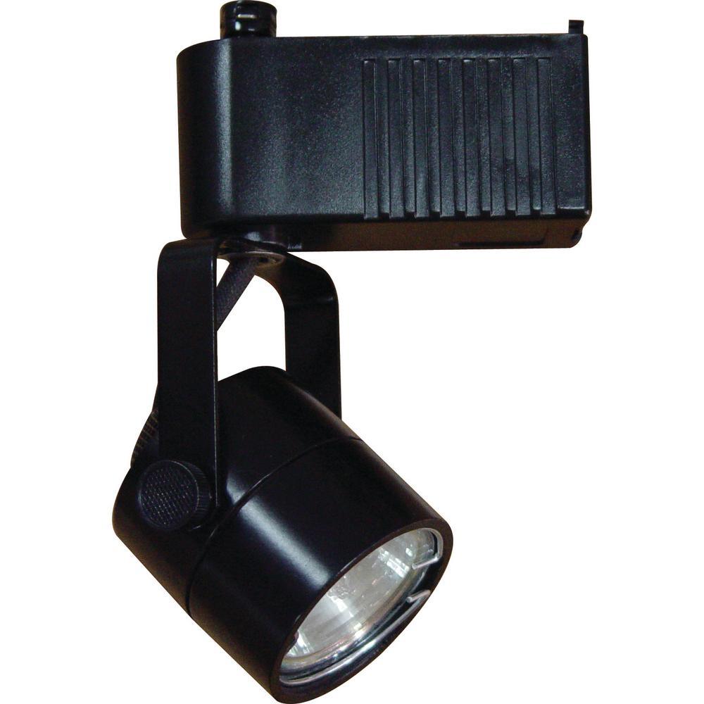 1-Light Black Low Voltage Adjustable Small Gimbal Ring Round Back Cylinder Track Lighting Head