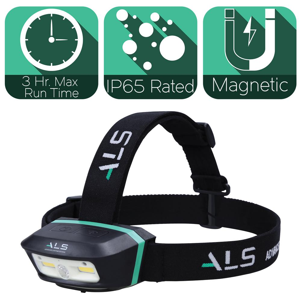 Advanced Lighting Systems 250 Lumens LED Heavy-Duty Magnetic Rechargeable and Detachable Head Lamp with Motion Activation and Brightness Memory